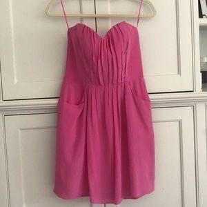Rebecca Taylor pinks strapless silk dress